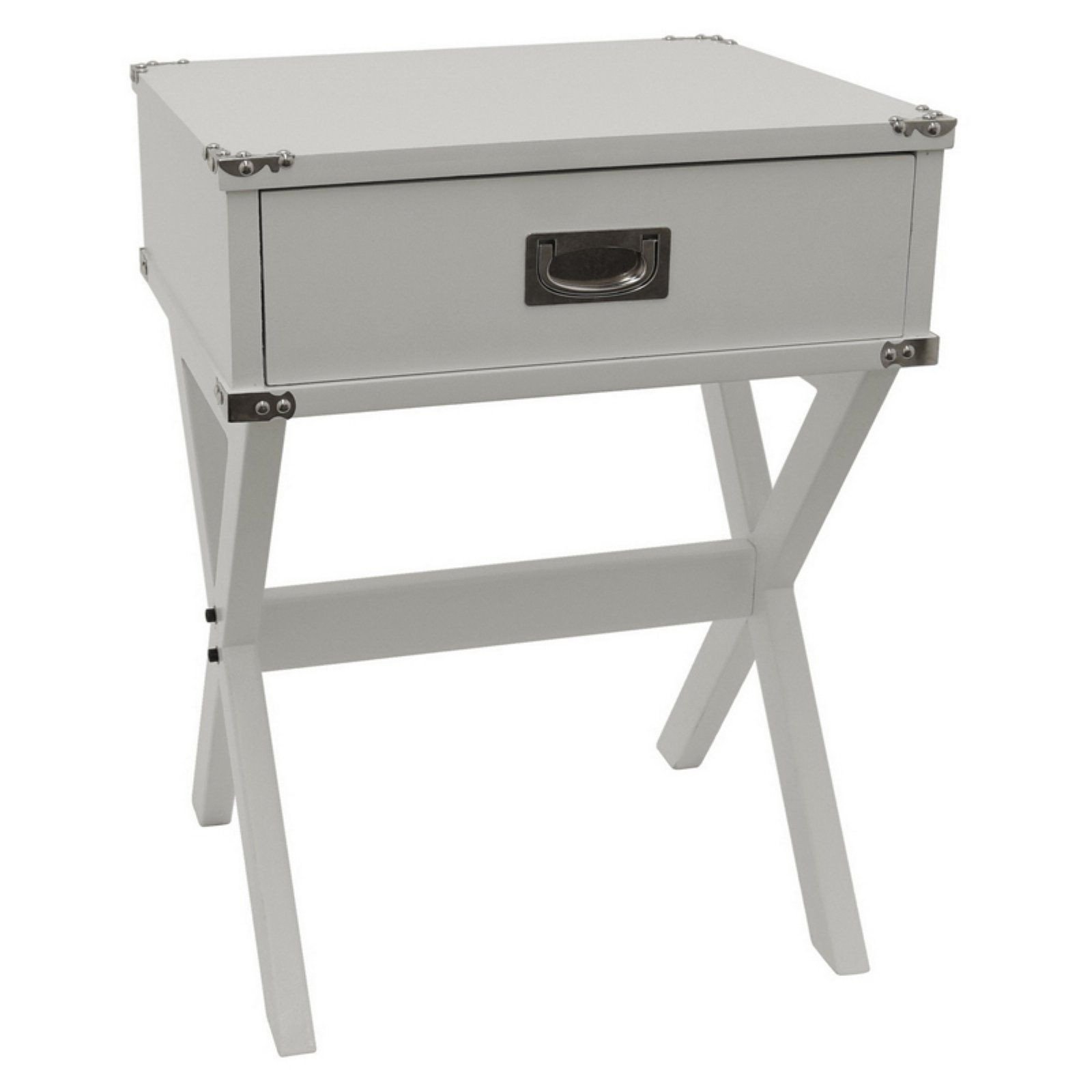 White Bedroom End Tables Fresh Three Hands 1 Drawer Side Table with Crossed Legs Gray