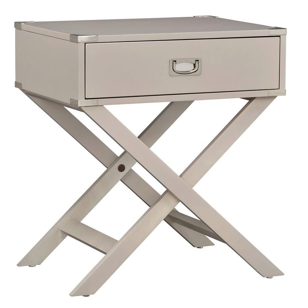 White Bedroom End Tables Inspirational topline Furniture Wenderson 1 Drawer Silver Nightstand