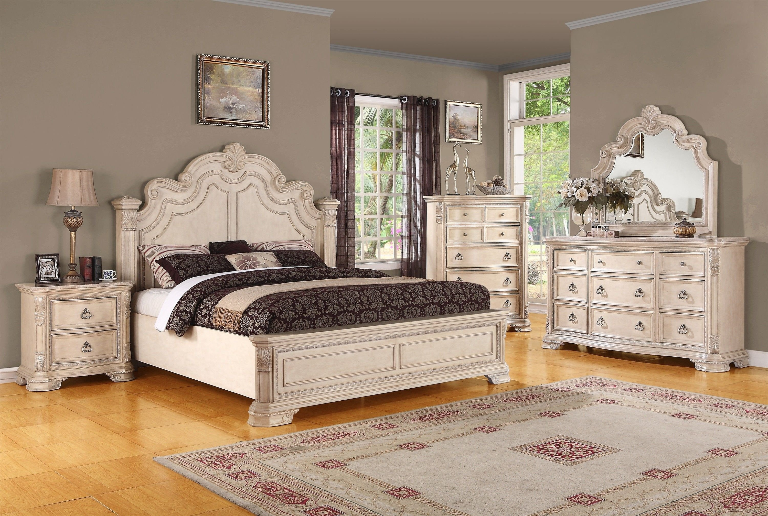 White Bedroom Set Queen Elegant Traditional Alabaster White Bedroom