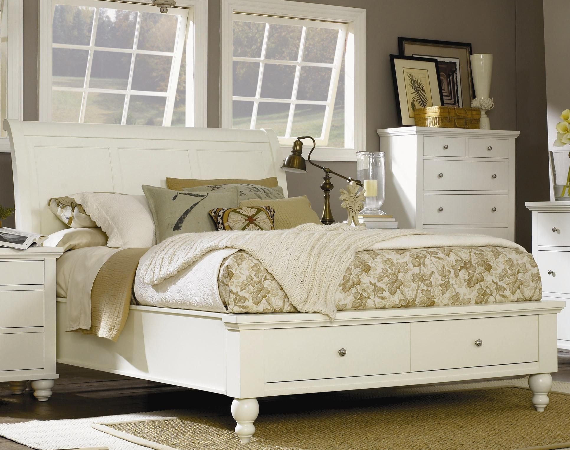 White Bedroom Set Queen New Cambridge King Size Bed with Sleigh Headboard & Drawer