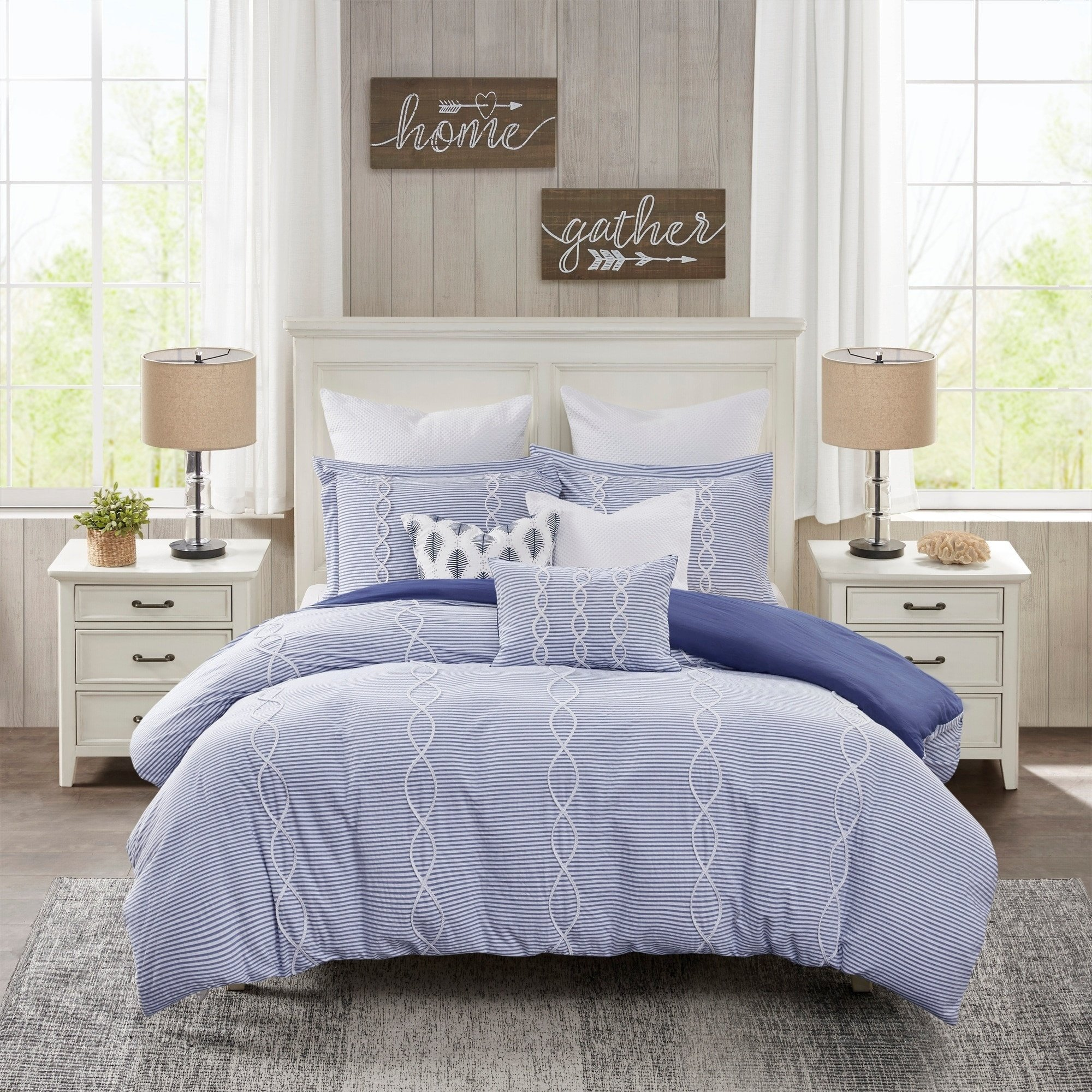 White Coastal Bedroom Furniture Fresh Madison Park Signature Coastal Farmhouse Blue forter Set