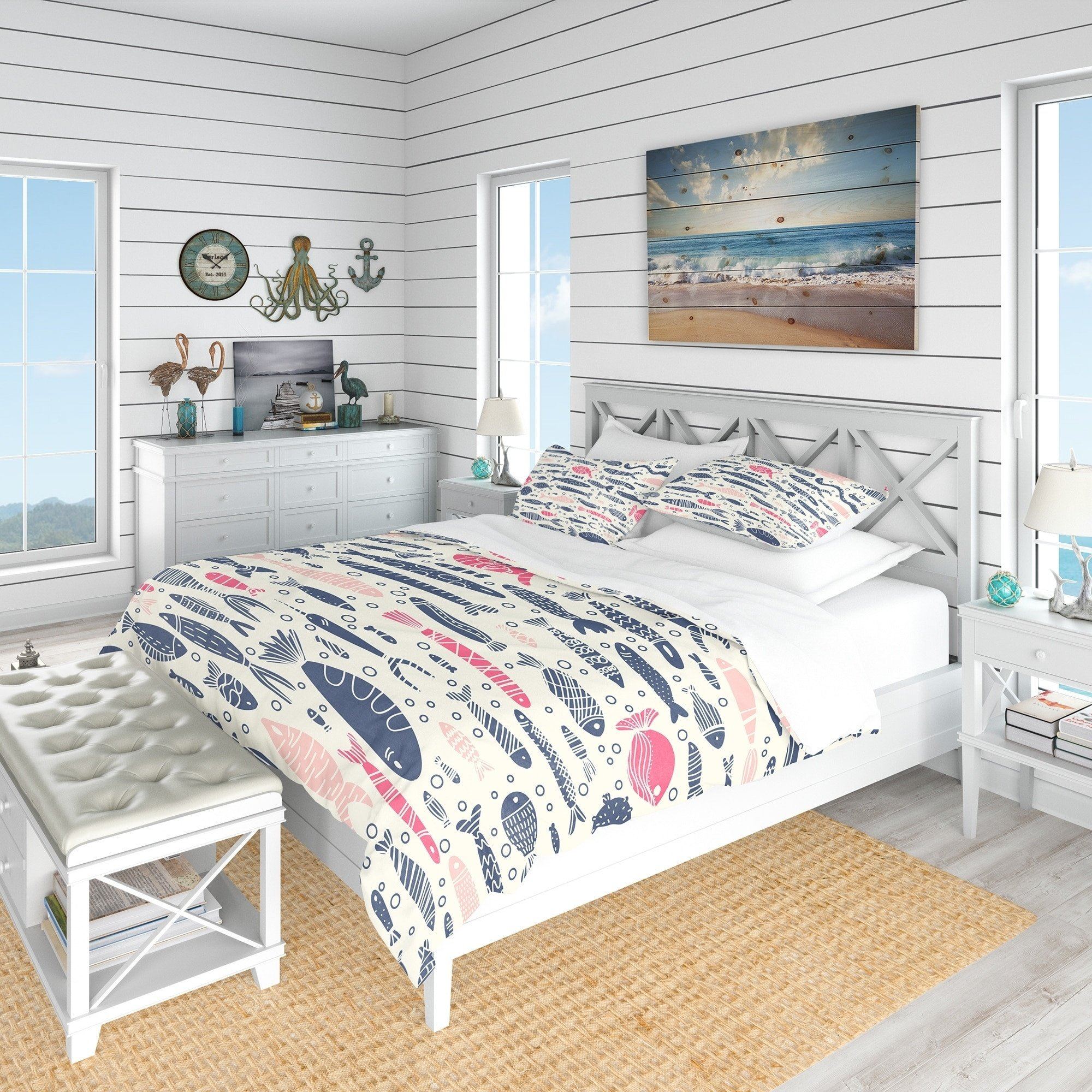 White Coastal Bedroom Furniture Lovely Designart Cute Fishes with Doodles Nautical & Coastal Bedding Set Duvet Cover & Shams