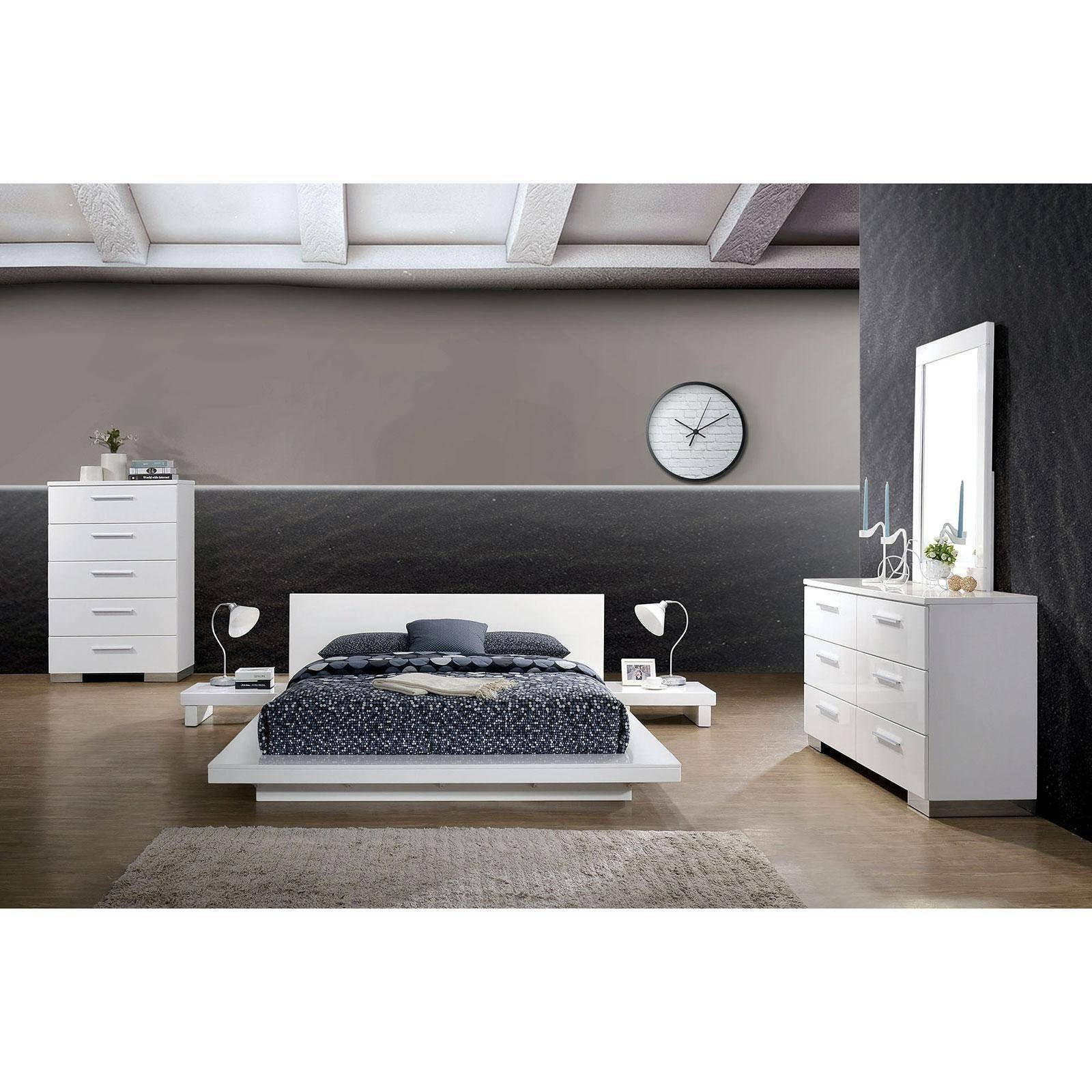 White Contemporary Bedroom Furniture New Contemporary Wood California King Platform Bed In White Christie by Foa Group