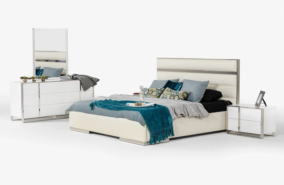 White Gloss Bedroom Furniture Awesome Nova Domus Francois Modern White Bedroom Set King Size