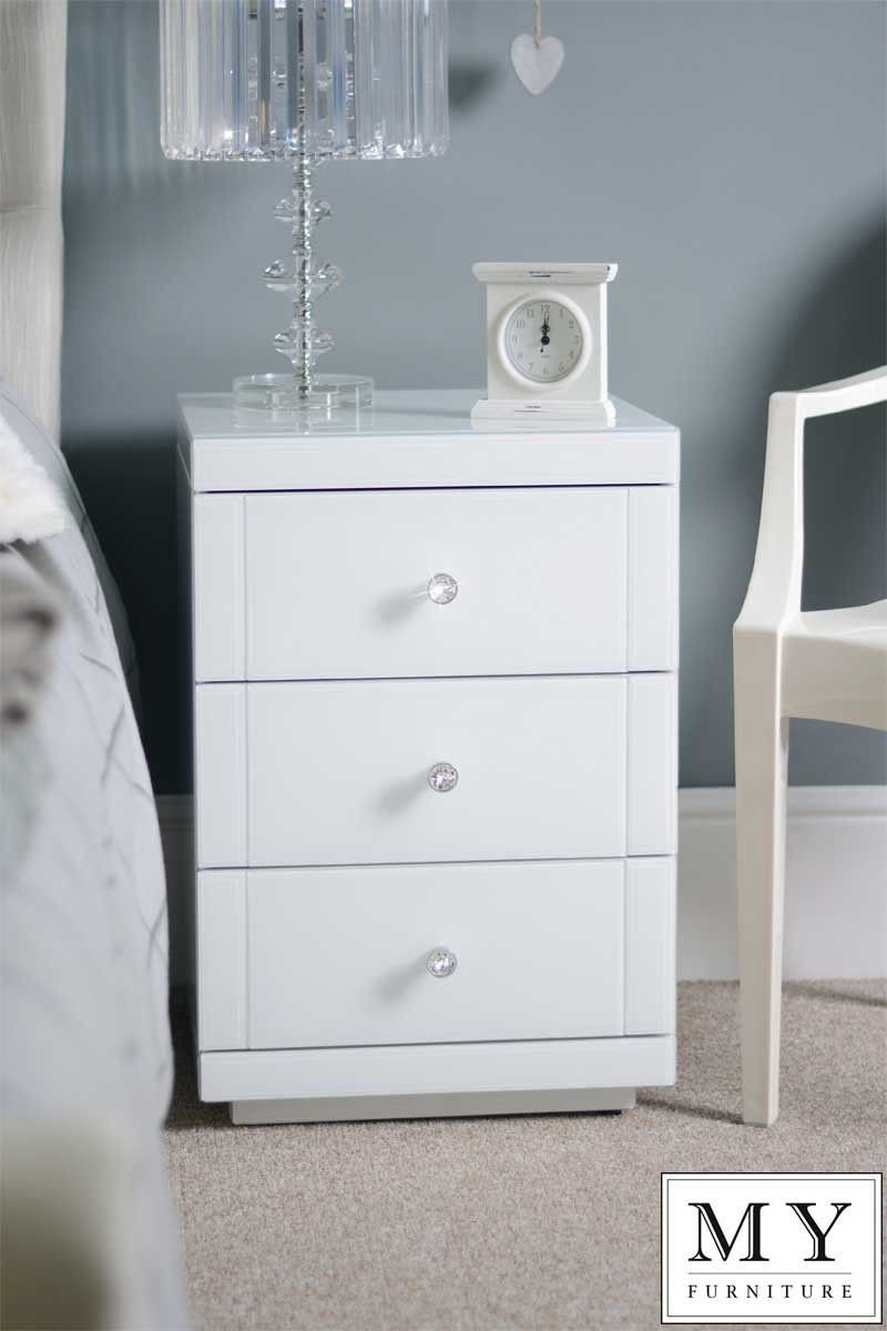 White Gloss Bedroom Furniture Unique White Glass High Gloss Bedside Table 3 Drawer