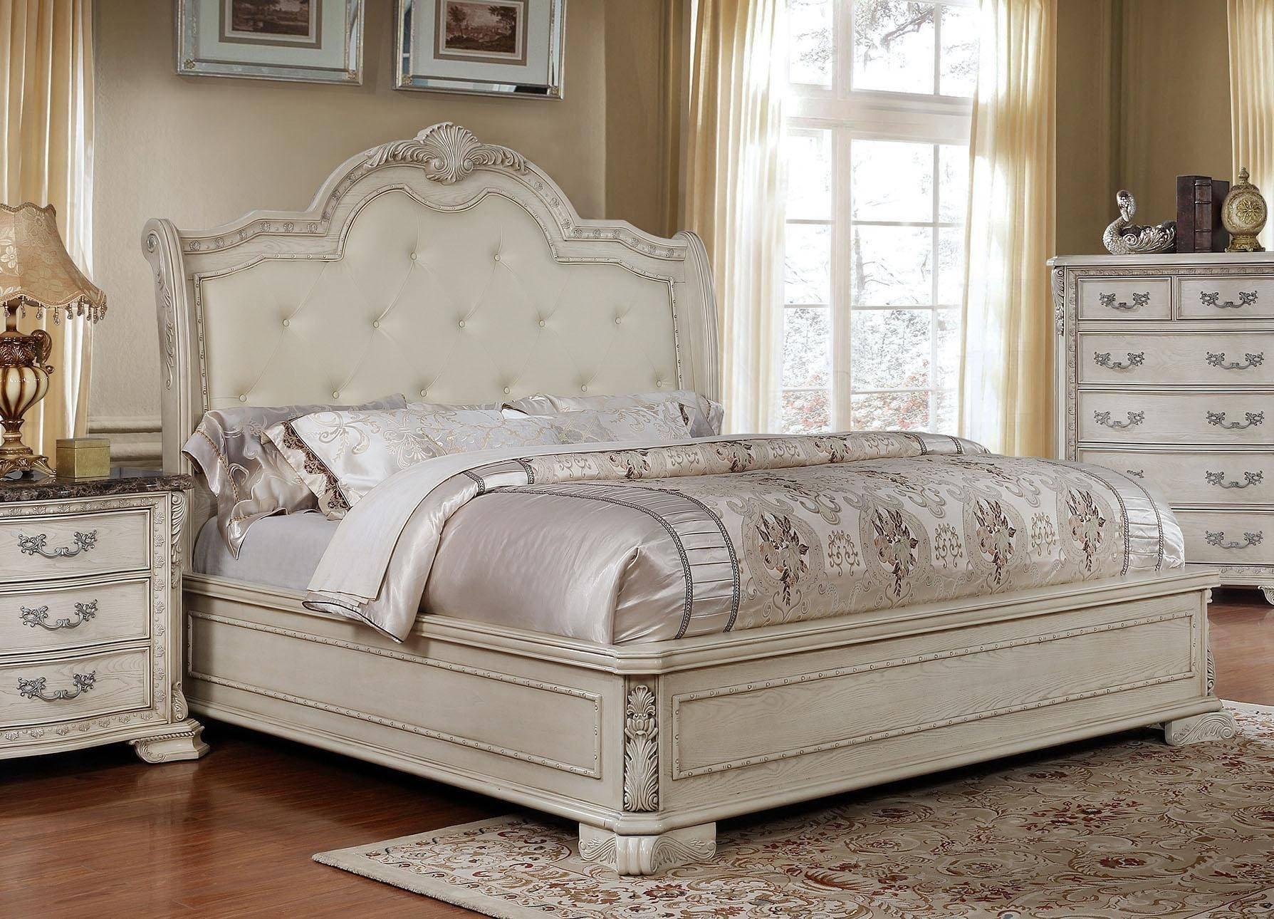 White King Size Bedroom Set Luxury Mcferran B1000 Antique White Tufted King Size Bedroom Set