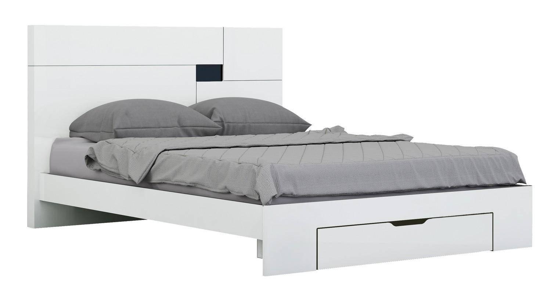 White King Size Bedroom Set New White High Gloss Finish Queen Bedroom Set 3pcs Modern Global