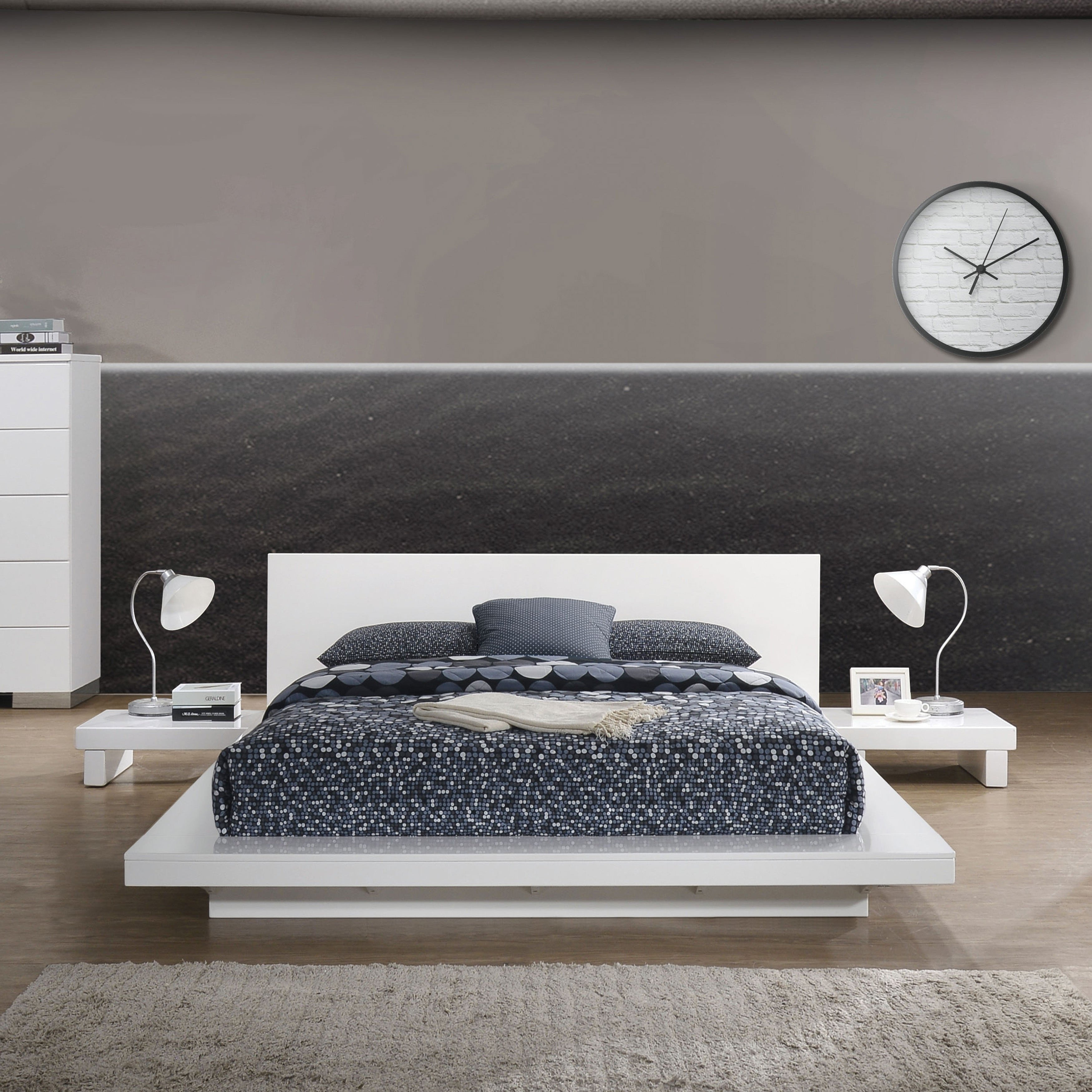 White Lacquer Bedroom Furniture Beautiful Furniture Of America Roso Contemporary solid Wood Platform Bed