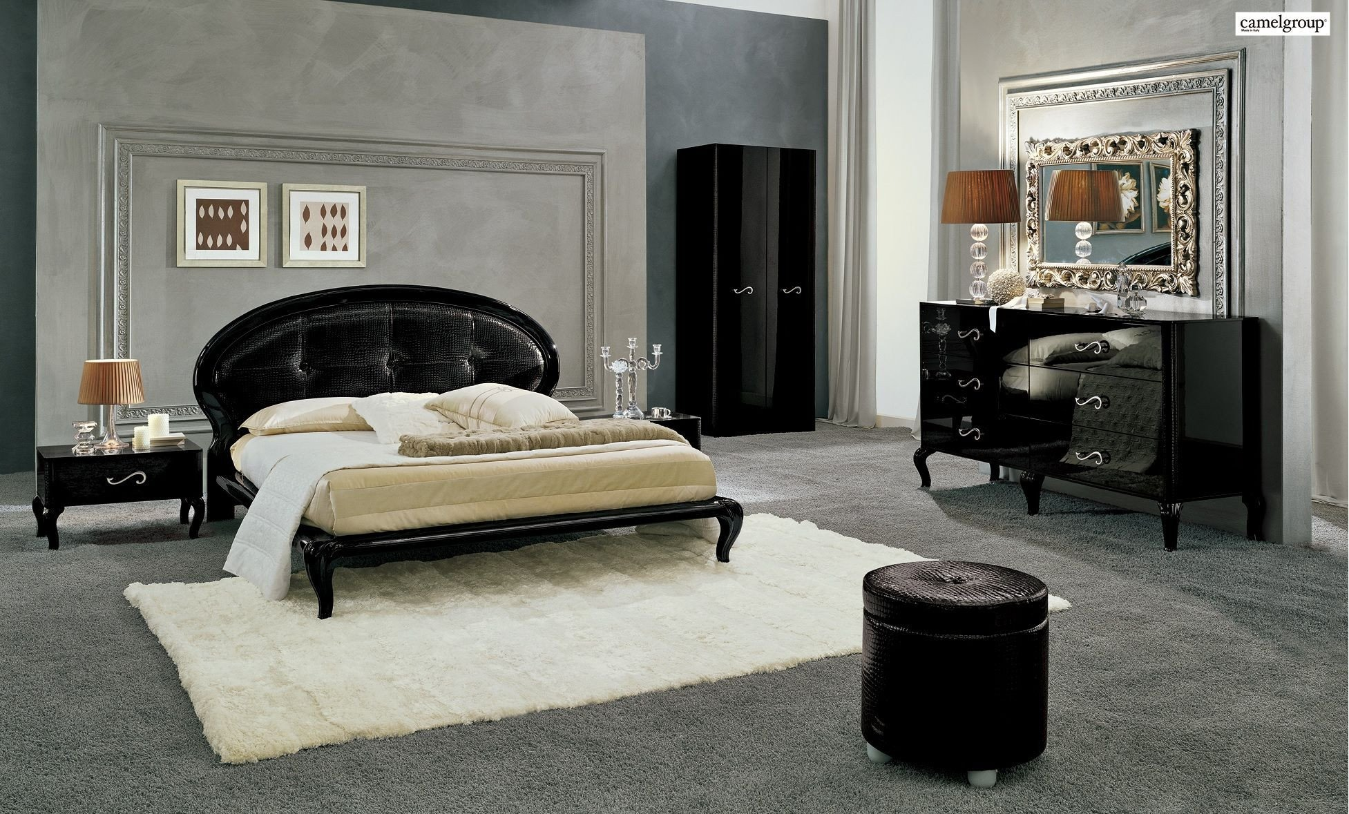 White Lacquer Bedroom Furniture Luxury Magic Bedroom Set In Black Lacquer Finish by Camelgroup