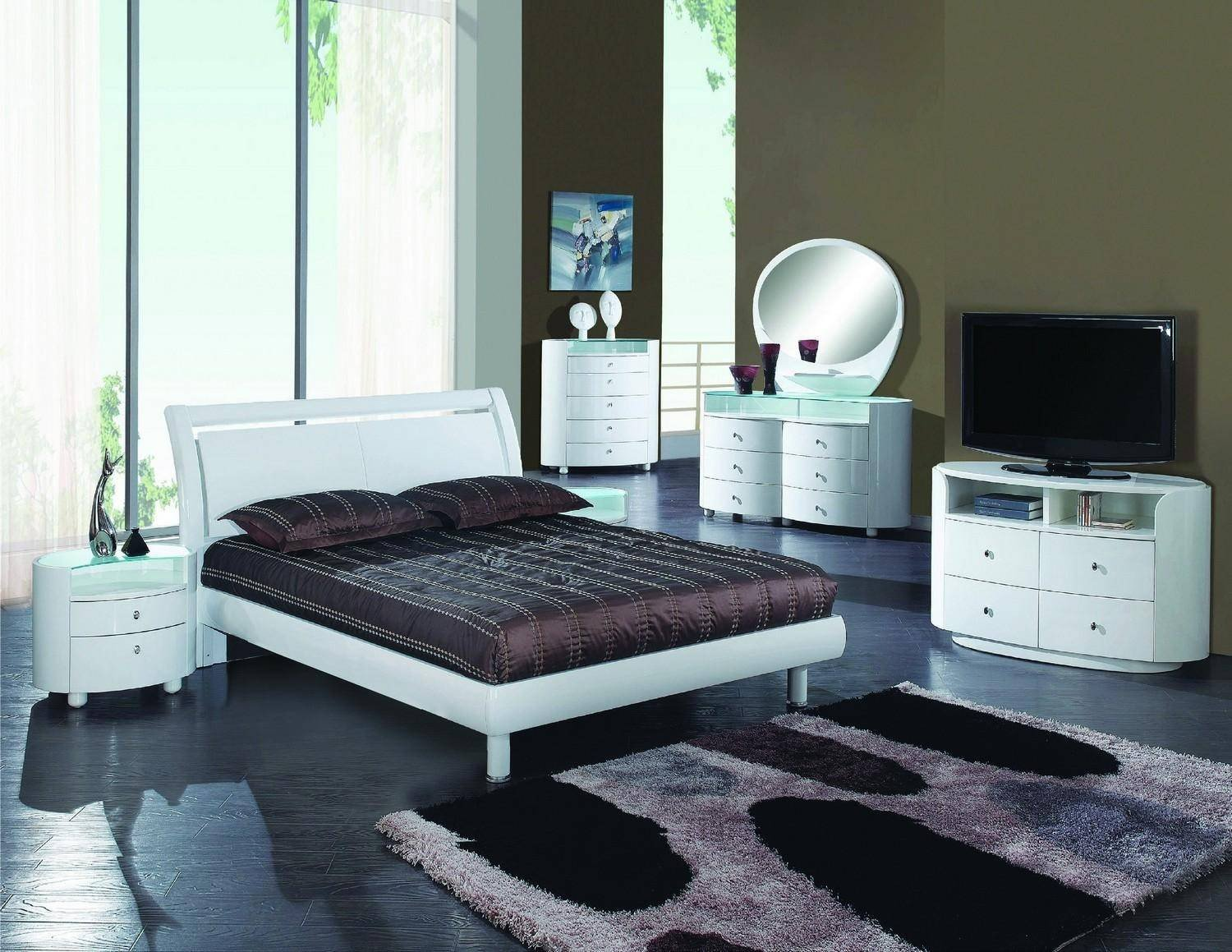 White Lacquer Bedroom Furniture Unique Contemporary White High Gloss Finish Queen Bedroom Set 5pcs