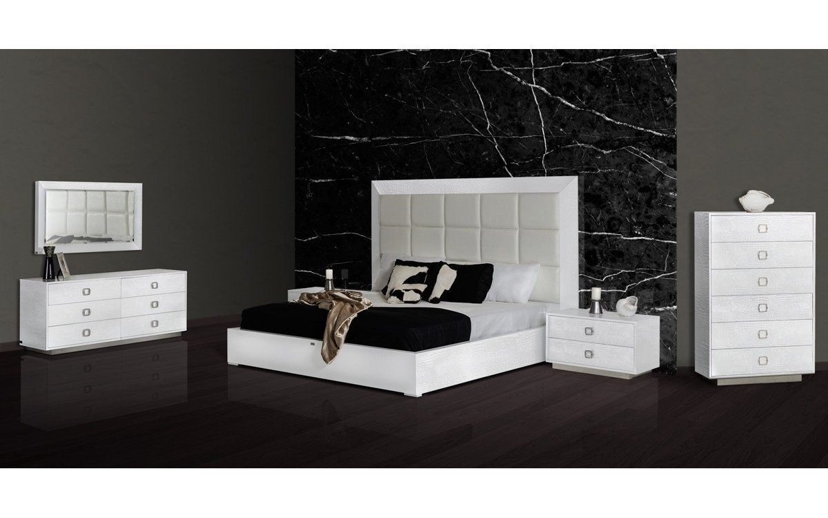 White Lacquer Bedroom Set Beautiful A&x Victoria Modern White Crocodile Bedroom Set Queen Buy
