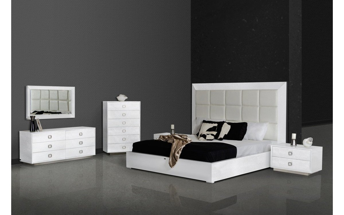 White Lacquer Bedroom Set Elegant A&x Victoria Modern White Crocodile Bedroom Set Queen Buy