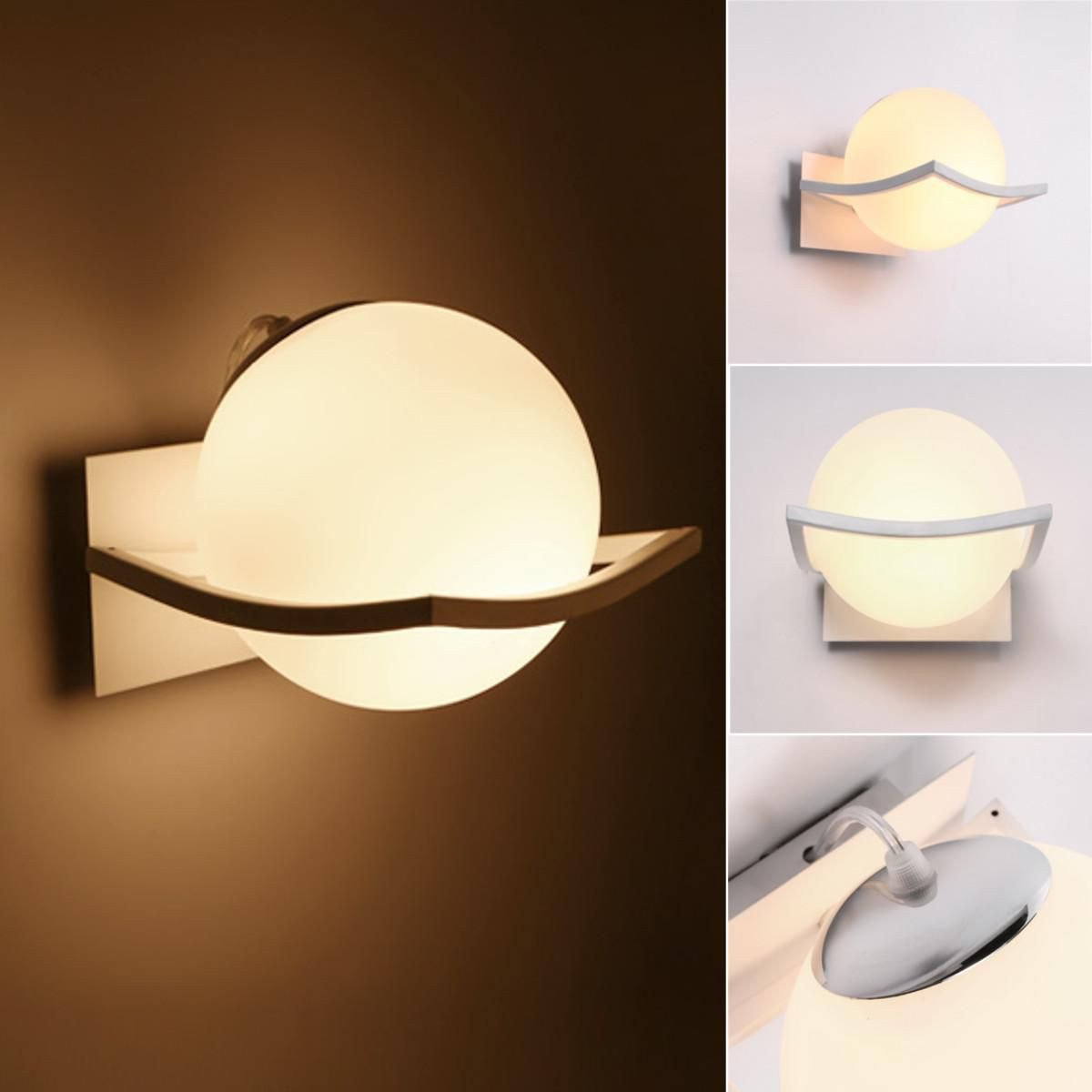 White Light for Bedroom Fresh Led Spherical Glass Wall Lamp Front Light Bedroom Bedside