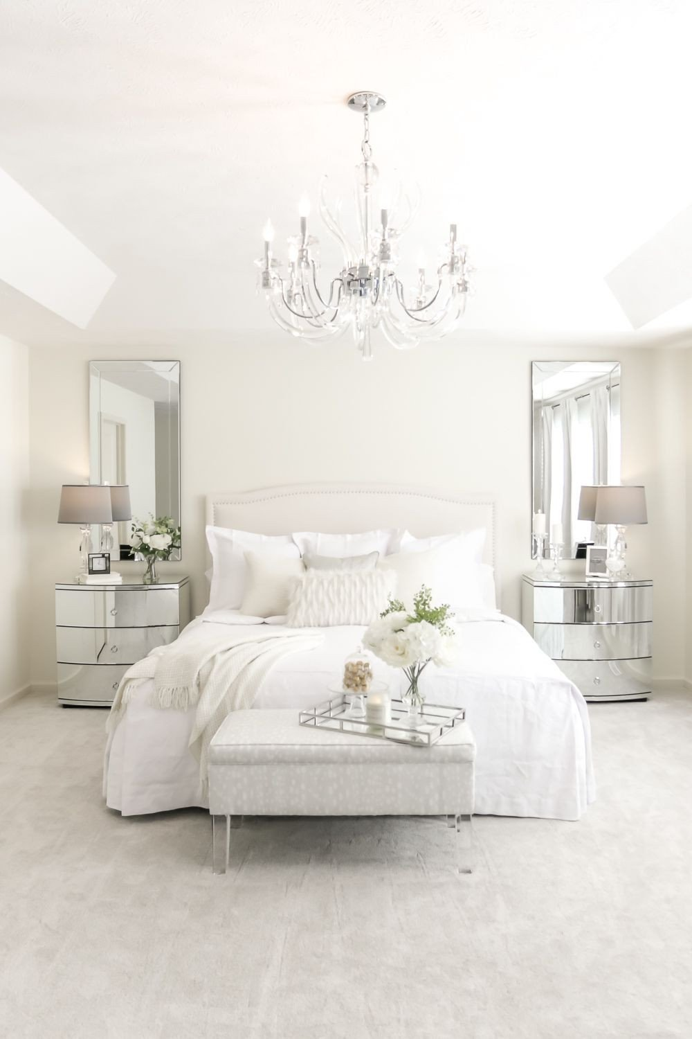White Master Bedroom Furniture Awesome Mirrored Nightstands Chandelier and All White Bedding You
