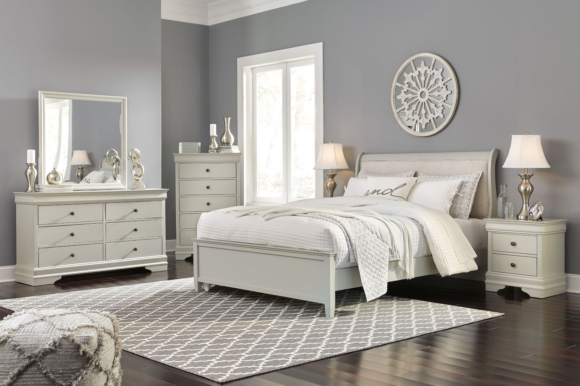 White Tufted Bedroom Set Elegant Emma Mason Signature Jarred 5 Piece Sleigh Bedroom Set In Gray