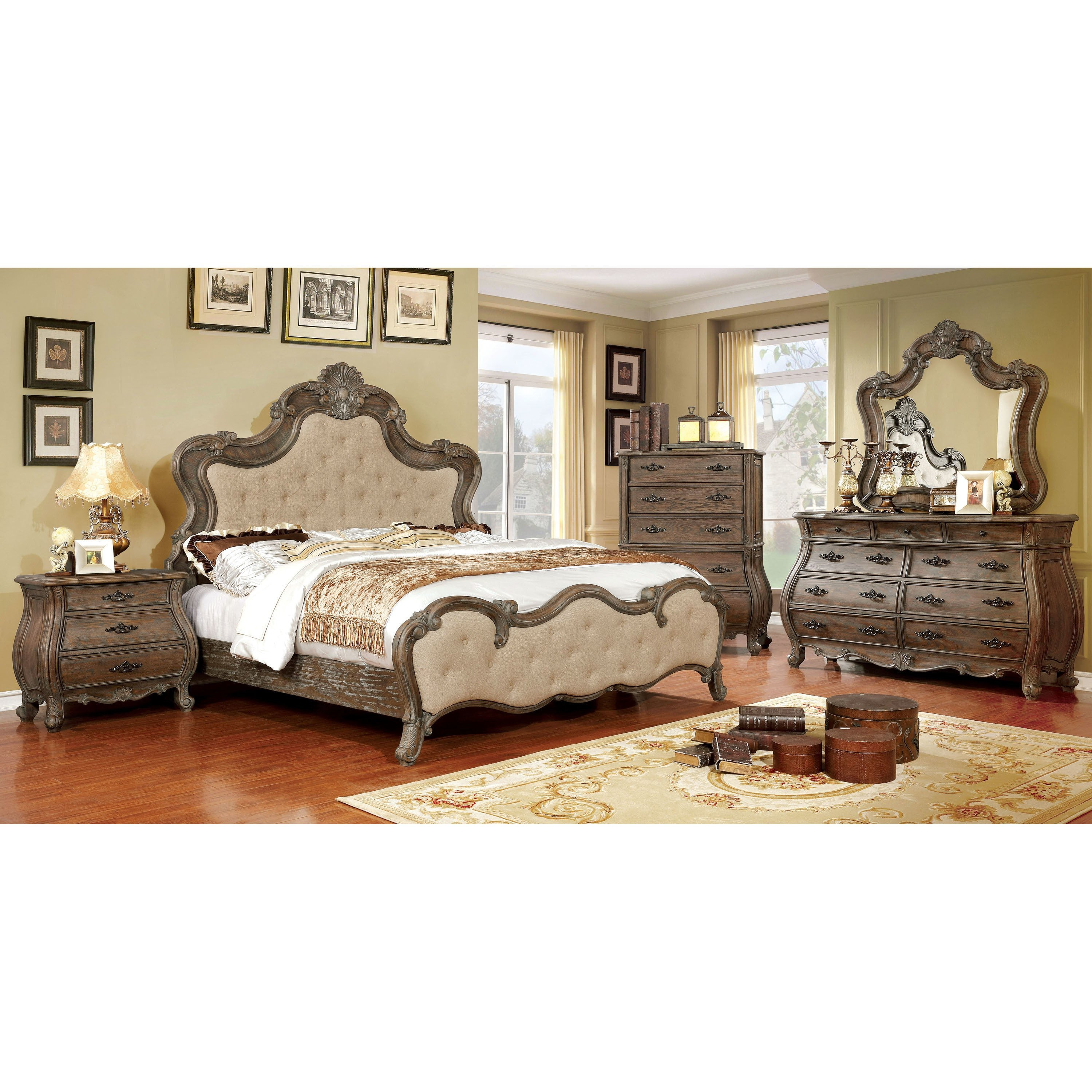 White Tufted Bedroom Set Lovely Furniture Of America Yito Traditional Brown solid Wood Panel Bed