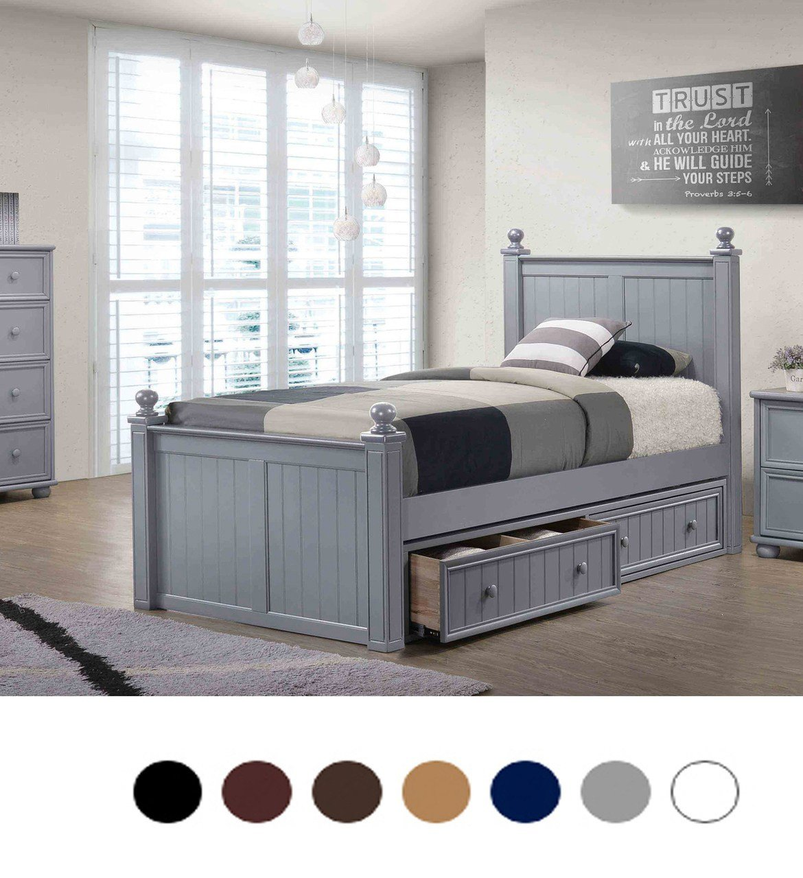 White Twin Bedroom Set Luxury Dillon Bead Board Twin Bed with Storage Drawers Trundle Bed