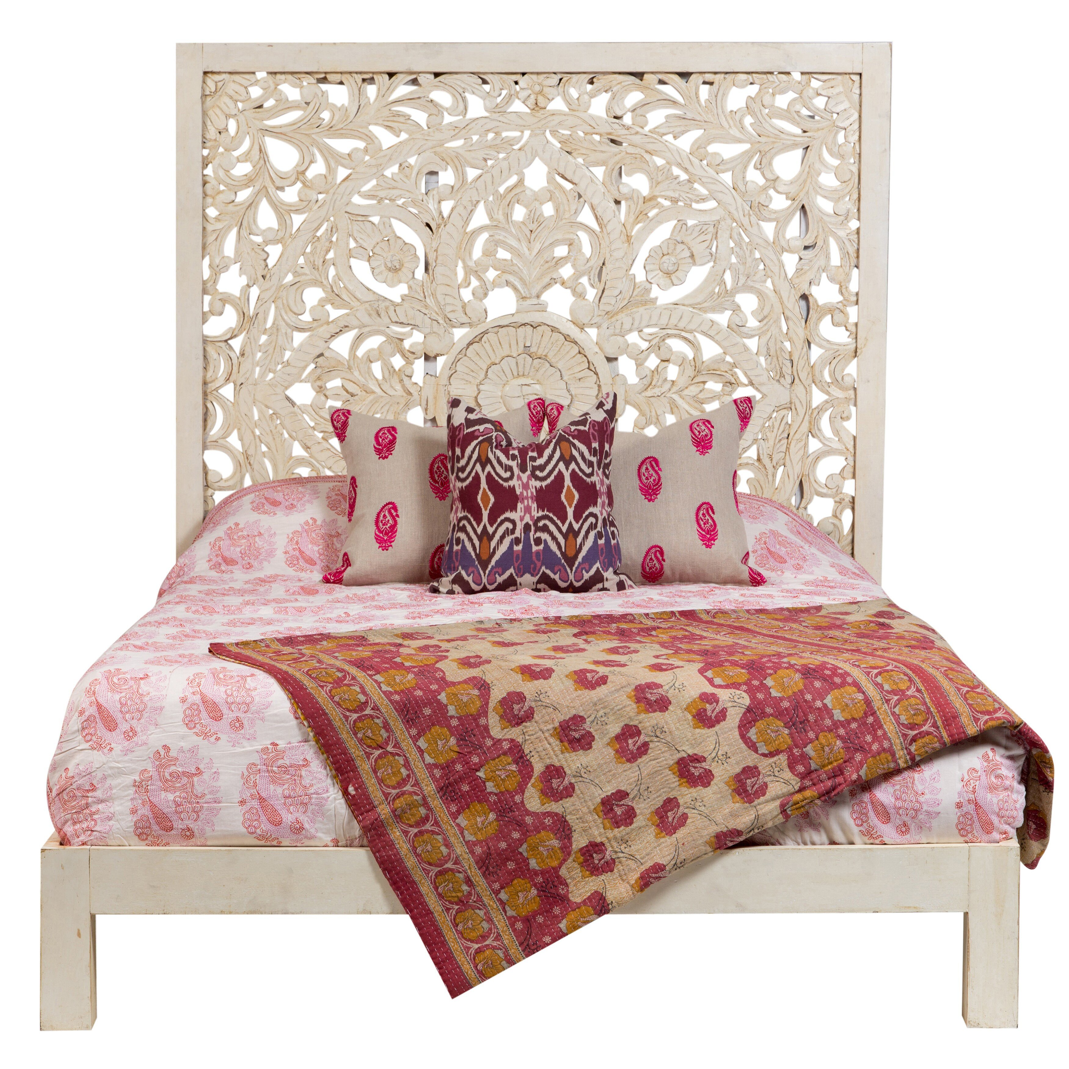 White Washed Bedroom Furniture Beautiful Wanderloot Bali Handmade Floral Medallion White Painted Mango Queen Panel Bed India