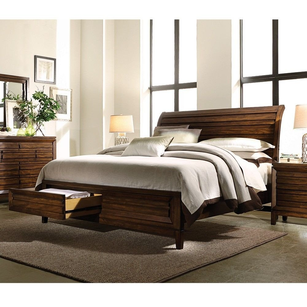 Wood Queen Bedroom Set Inspirational Walnut Park Wood Sleigh Storage Bed In Root Beer In 2019