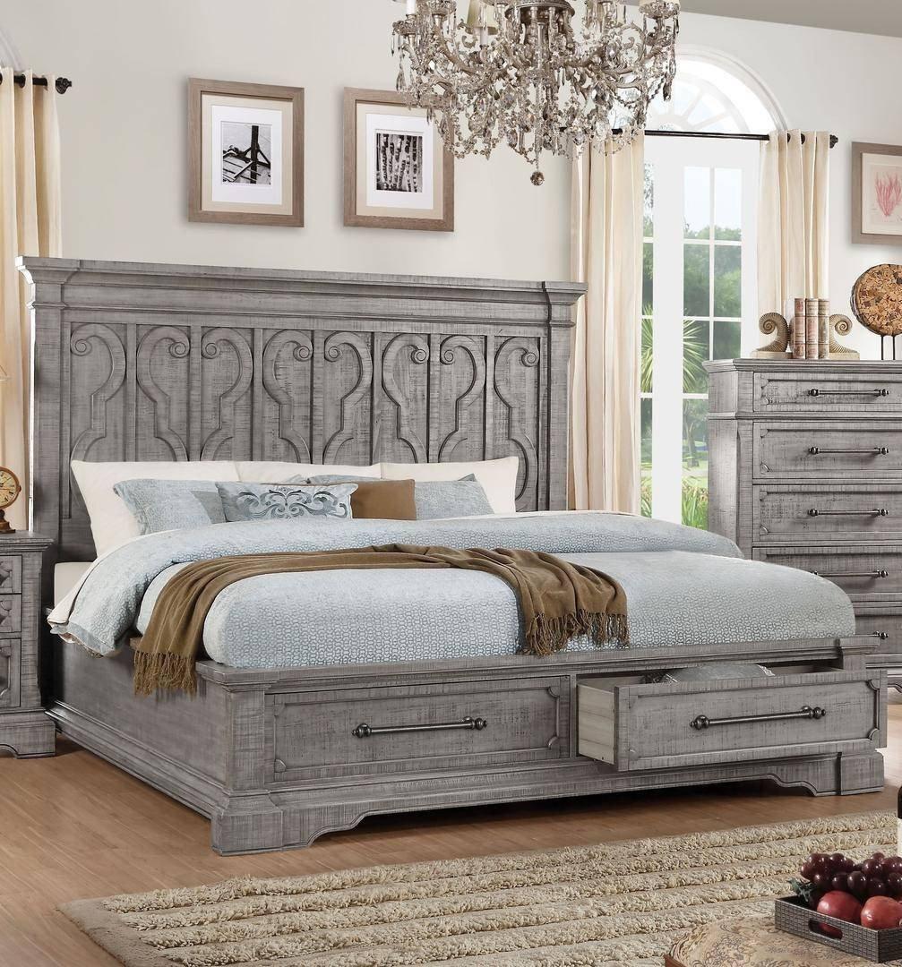 Wooden Bedroom Furniture Set Luxury Queen Storage Bedroom Set 3p Carved Wood Salvaged Natural