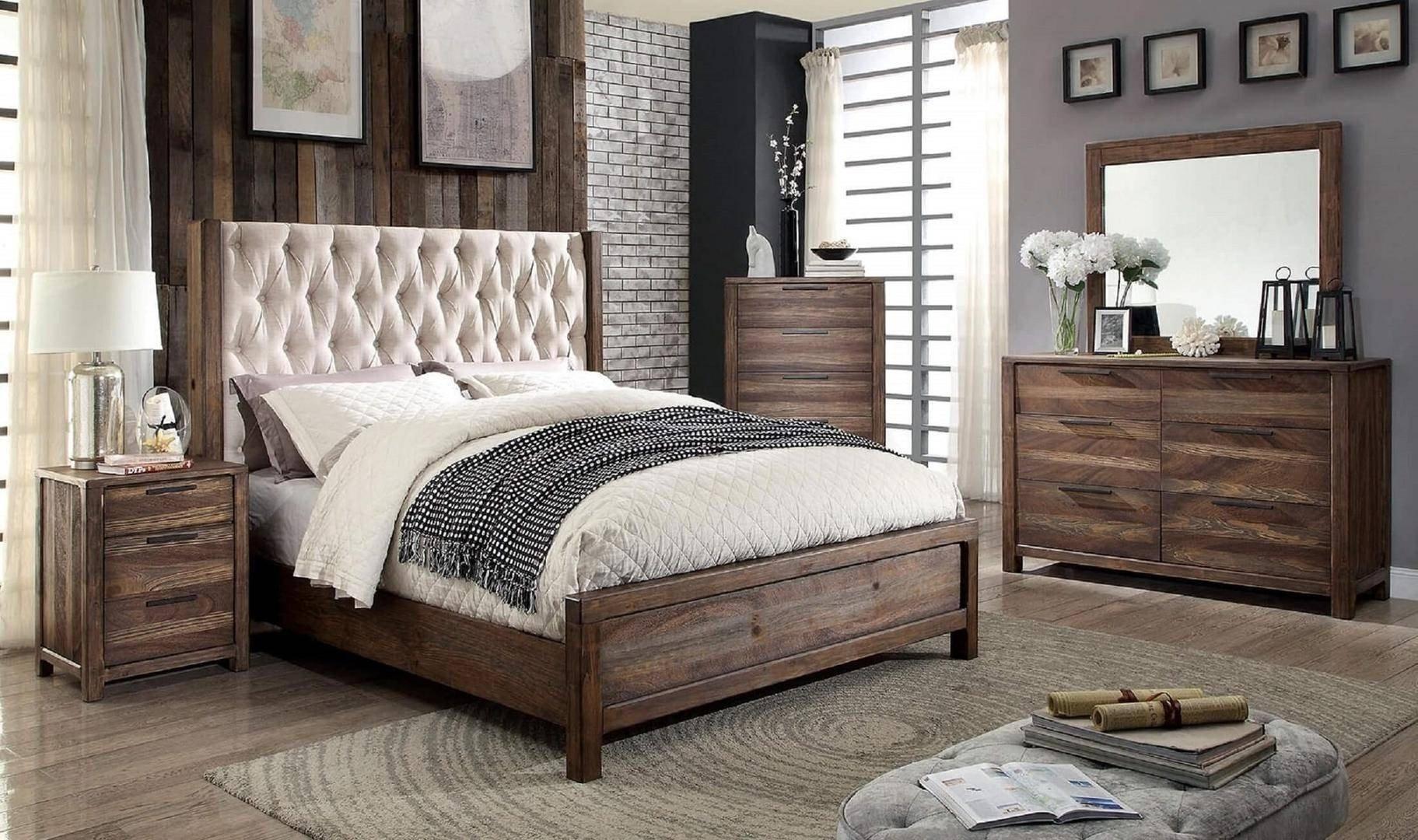 Wooden Bedroom Furniture Set New Rustic Queen Bedroom Set 4 Pcs Brown Hutchinson Furniture Of