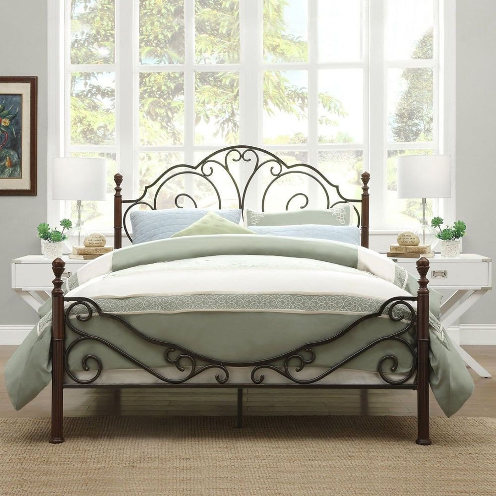 Wrought Iron Bedroom Set Inspirational Antique Metal Bed Frame Bronze Iron Scroll Full Queen King