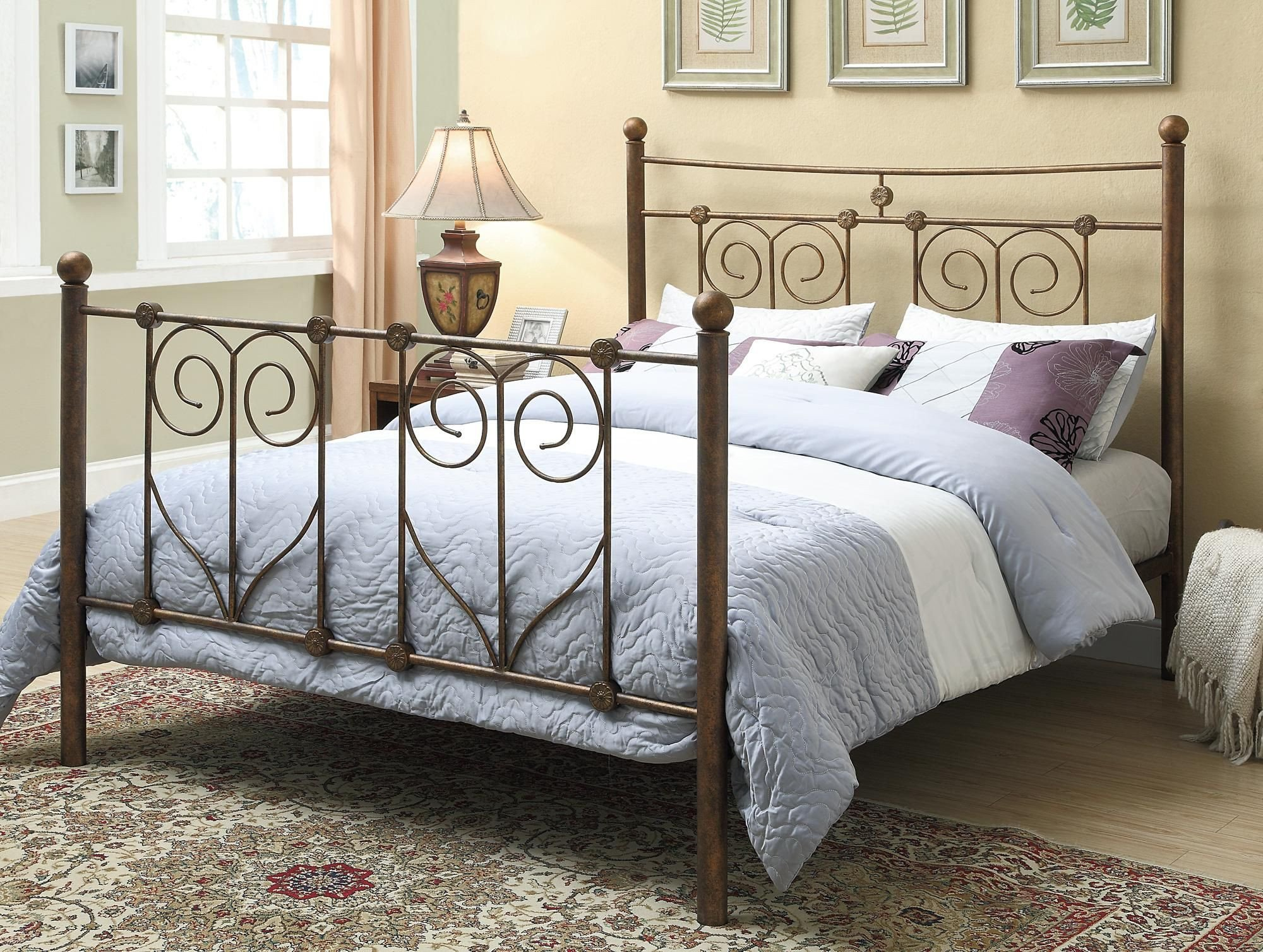 Wrought Iron Bedroom Set New Rustic Metal Head & Footboard Traditional Feel Mhf