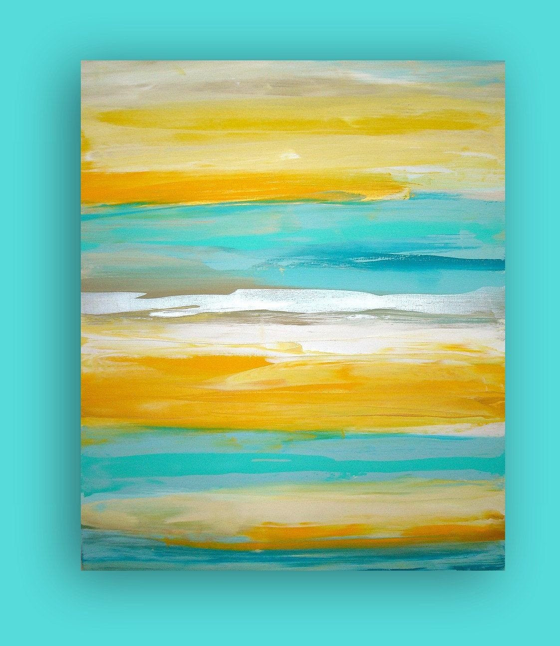 Yellow and Turquoise Bedroom Fresh Art Yellow Turquoise original Abstract Painting Modern