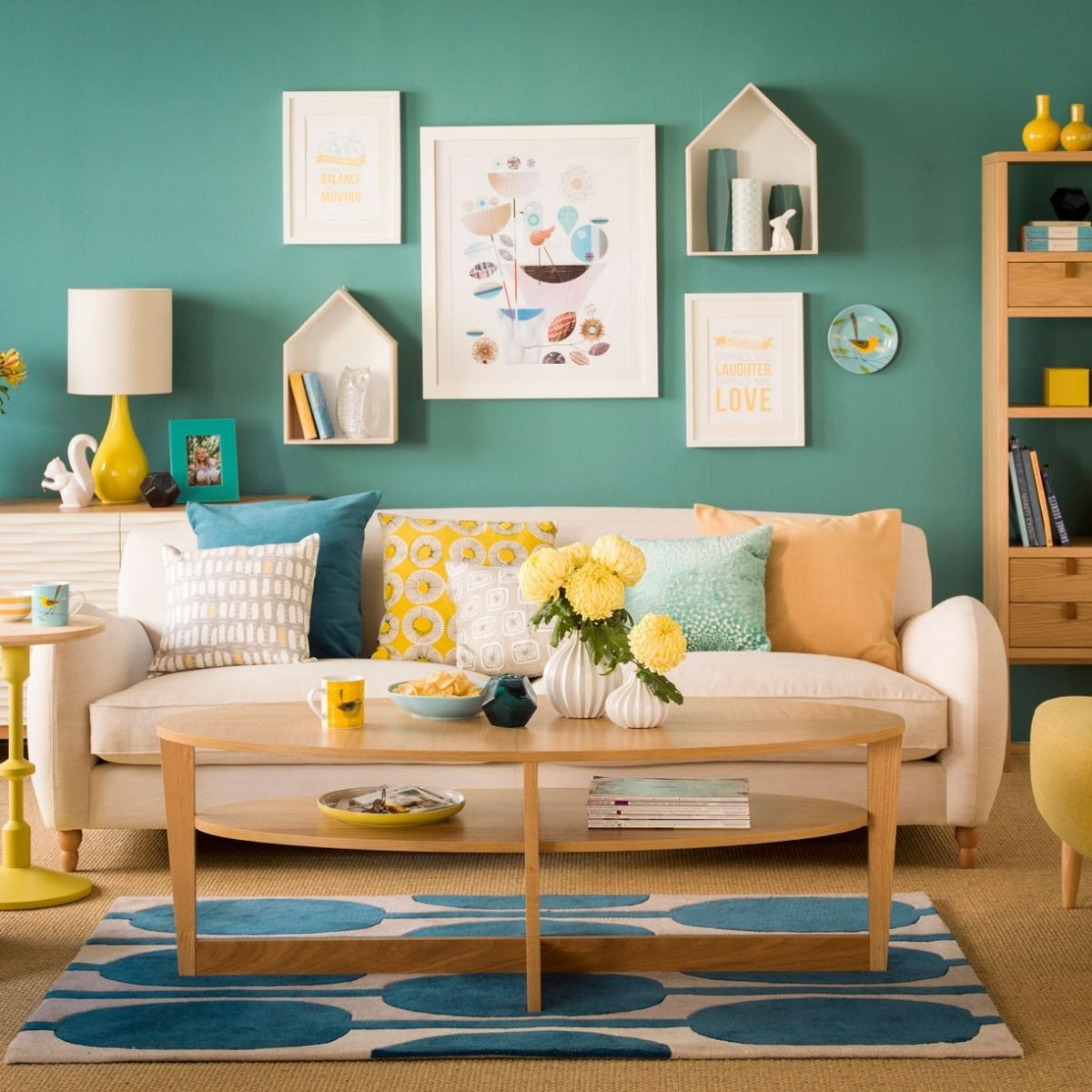 Yellow and Turquoise Bedroom Fresh Related Image