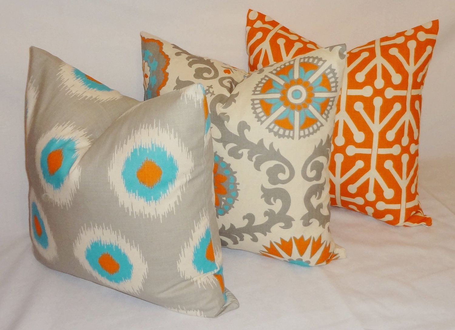 Yellow and Turquoise Bedroom New Pillow Trio Turquoise Blue Grey orange Pillow Cover