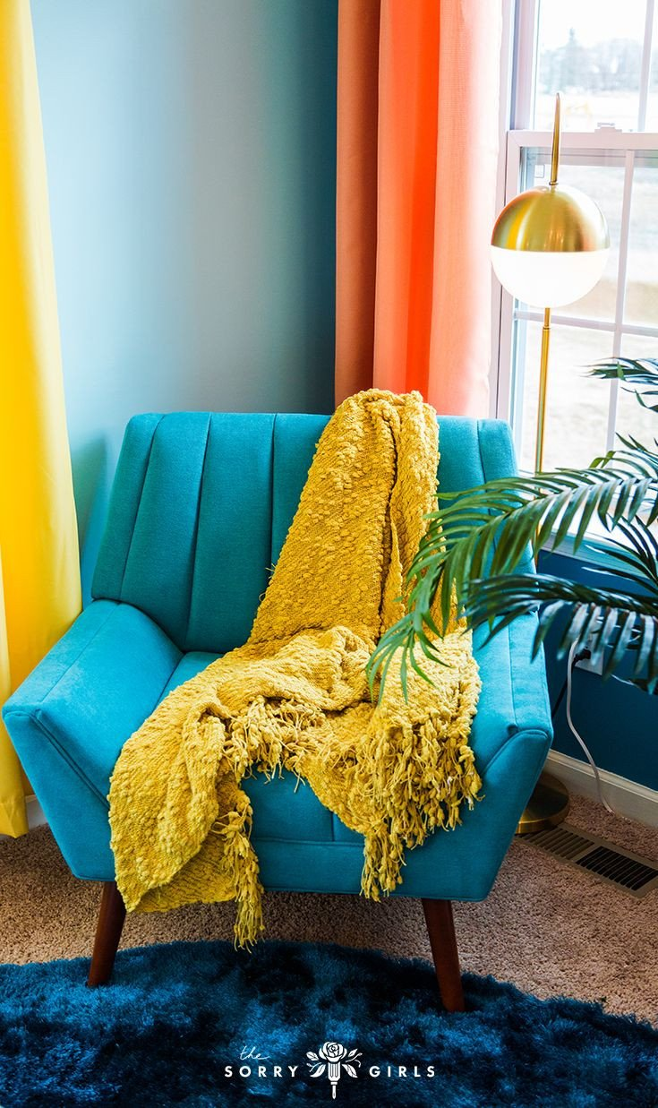 Yellow and Turquoise Bedroom Unique Beachy 70s Room Makeover with Niki Demar